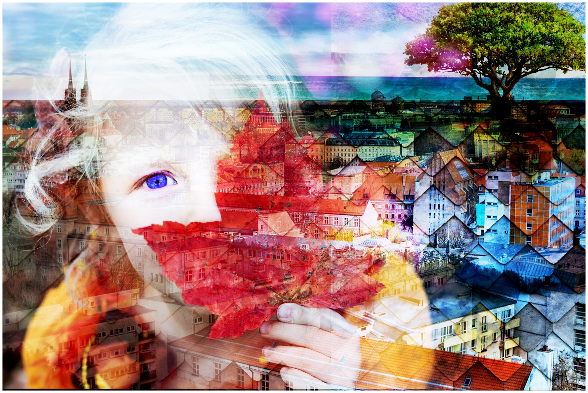 Digital Composition: City Girl with Red Leaf
