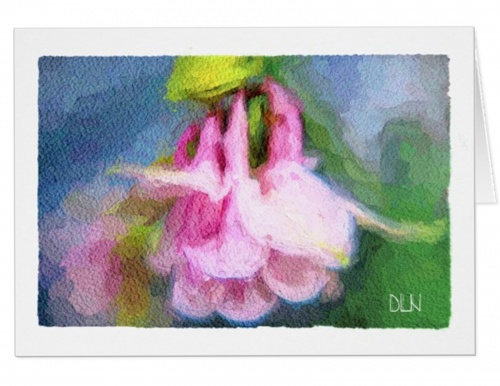 Art Note Card - Pink Columbine - watercolor look